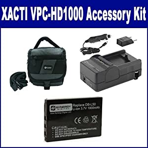 Sanyo Xacti VPC-HD1000 Camcorder Accessory Kit includes: SDDBL50 Battery, SDC-27 Case, SDM-142 Charger