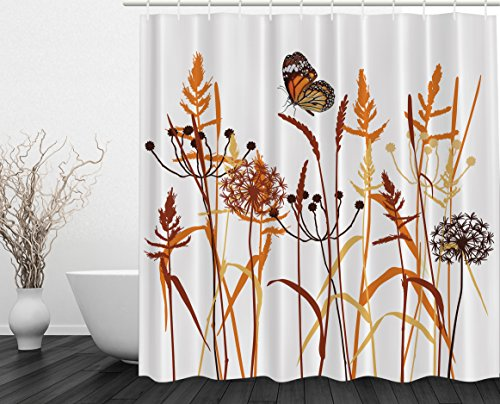 Dandelions Butterfly Digital Print Polyester Fabric Shower Curtain