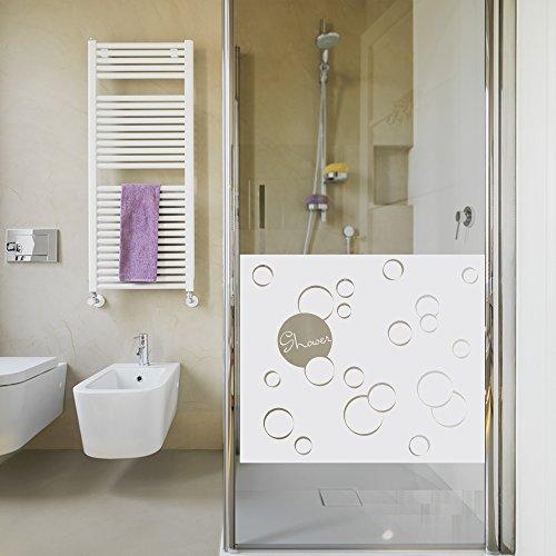 Sichtschutzdekor Duschtür Dusche Milchglasfolie für Badezimmer Blasen Spruch (Größe=80x57cm)