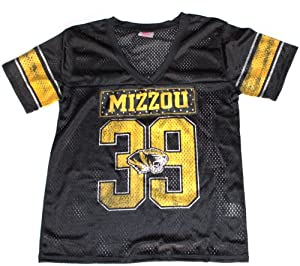 NCAA Officially Licensed Missouri Mizzou Tigers Ladies Black #39 Jersey by Knights Apparel
