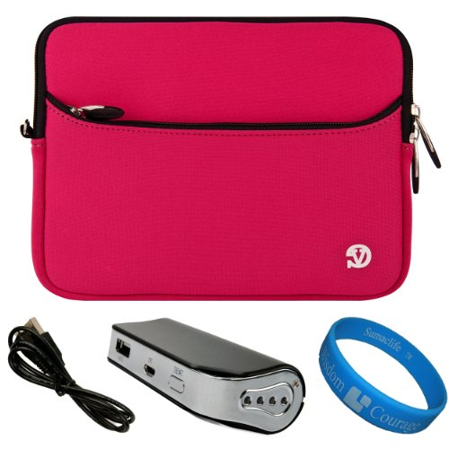 "Magenta Vg Neoprene Sleeve Cover For Barnes & Noble Nook Hd+ Slate 9"" Tablet (16Gb 32Gb) + Universal Power Bank / Charger With Micro Usb Recharge Cable + Sumaclife Tm Wisdom Courage Wristband front-1075422"