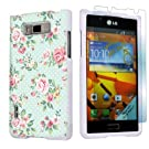 LG Optimus Showtime L86C White Protective Case + Screen Protector By SkinGuardz - Mint Roses