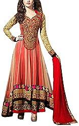 Hatdi Sales Women's Georgette Dress Material (Red)