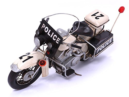 Model Motorcycle - Harley Davidson Police white - Retro Tin Model