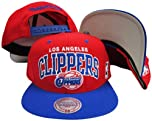 Los Angeles Clippers Red Blue Two Tone Plastic Snapback Adjustable Snap Back Hat Cap by Mitchell & Ness