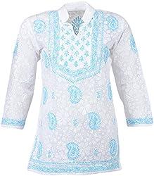ALMAS Lucknow Chikan Women's Cotton Regular Fit Kurti (White and Light Blue)