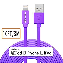 Apple MFI Certified Hi-Mobiler 10ft 3M 8pin Lightning to USB Cable with Compact Head For iPhone 5 5S 5C 6 6 Plus 6s 6s Plus iPad Mini Mini 2 Mini 3 Mini 4 iPad 4 iPad Air Air 2 iPad Pro Purple