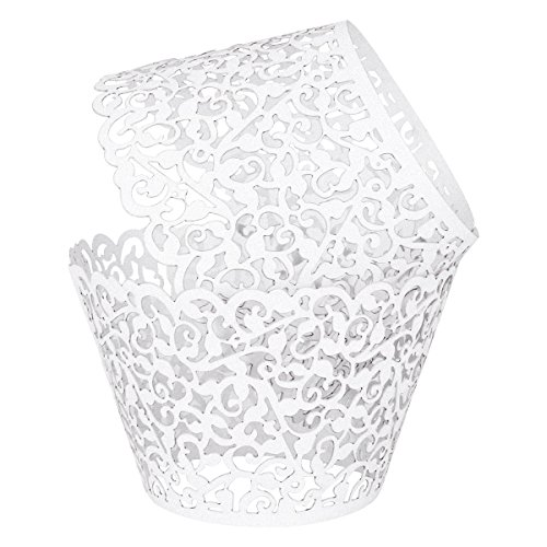 100 Cupcake Wrappers - White Shimmering Decorative Vine Lace Laser-Cut Liner Baking Cup - Muffin Case Trays for Wedding, Birthday, or Any Special Event