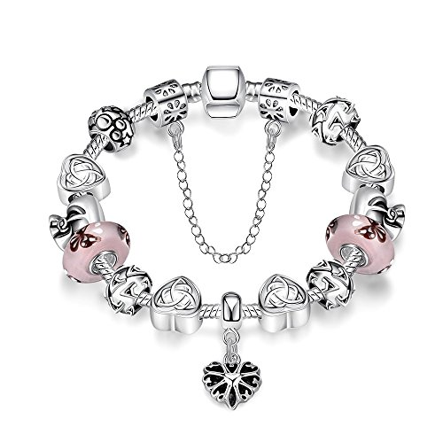 Gorgeous Jewelry Hand Carving Flower Silver Heart Pattern Pendant Pink Crystal Bracelet