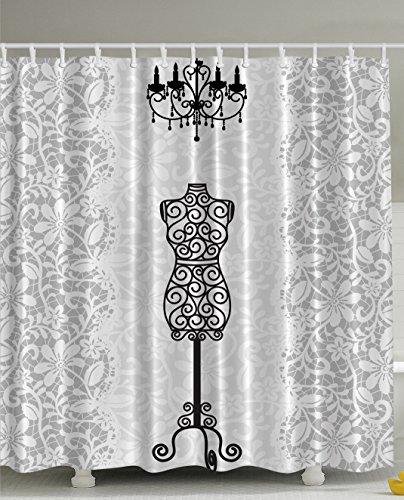 Gray Shower Curtain Female Dress Form Mannequin Black Chandelier White Lace Home Woman Fashion Theme Item Bathroom Decorating Modern Art Print Polyester Fabric Shower Curtain Gray Black (Chandelier Shower Curtain compare prices)