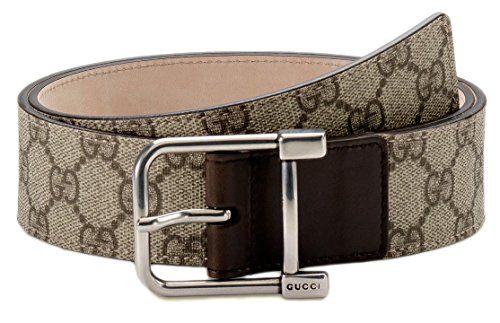 Gucci GG Plus Canvas Square Spur Buckle Belt, Beige/Ebony 30-32 US (UK 80) 256063
