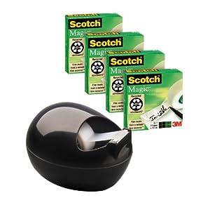 Scotch PBLB810P Tischabroller inklusive 4 Rollen Magic Klebeband, 33 m x 19 mm, schwarz