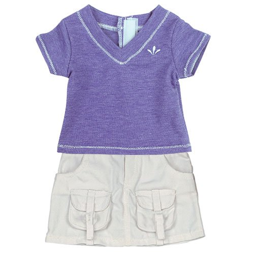 Doll Outfit of Detailed Doll Shirt in Purple and White Cargo Skirt Set, Fits 18 Inch American Girl Dolls, Purple Shirt & Cargo Skirt Set