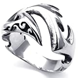 Konov Jewellery Mens Stainless Steel Ring, Gothic Phoenix Firebird, Color Silver, Size V (with Gift Bag)