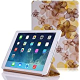 MoKo Apple iPad Air 2 (iPad 6) Case - Ultra Slim Lightweight Smart-shell Stand Cover Case for Apple iPad Air 2 (iPad 6) 9.7 Inch iOS 8 Tablet, Floral YELLOW