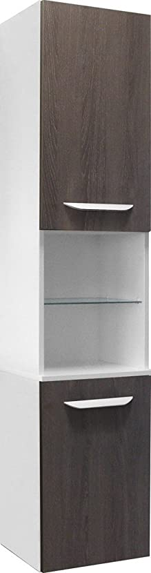 Fackelmann Lavella–Armadio alto, Sinistro, Bianco Lucido/quercia Cognac/bagno mobili