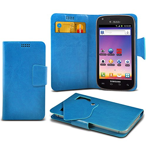 ONX3 Baby Blue Samsung Galaxy S Blaze 4G T769 Super Thin Faux Leather Wallet Flip Suction Pad Skin Case Cover With Credit Debit Cards Slot