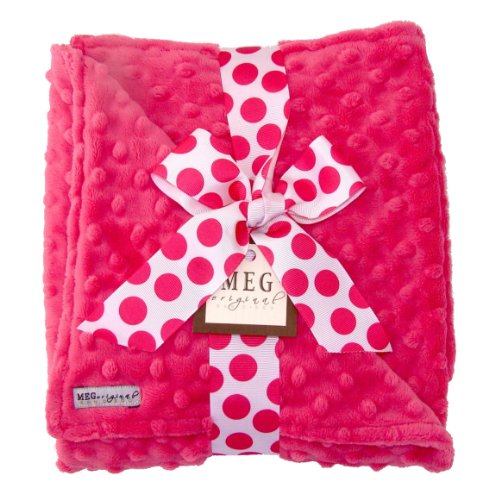 Meg Original Minky Dot Baby Girl Blanket Hot Pink/Hot Pink