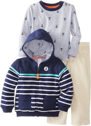 Little Me Baby-Boys Infant Stripe Anchor Jacket 3 Piece Jacket Set, Khaki, 12 Months front-1077943