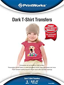 Printworks Dark T-Shirt Transfers, Inkjet, 8.5 x 11 Inch, 5 Sheets (00529)