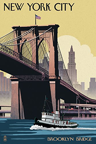 New York City, New York - Brooklyn Bridge (12x18 Art Print, Wall Decor Travel Poster) (New York Brooklyn Bridge Poster compare prices)