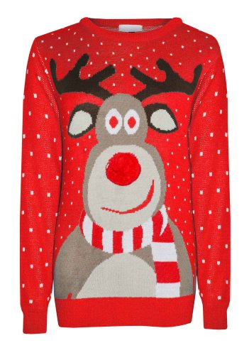 Mens-Ladies-Retro-Xmas-Christmas-Rudolf-Reindeer-Pom-Pom-Nose-Novelty-Winter-Jumper-Sweater
