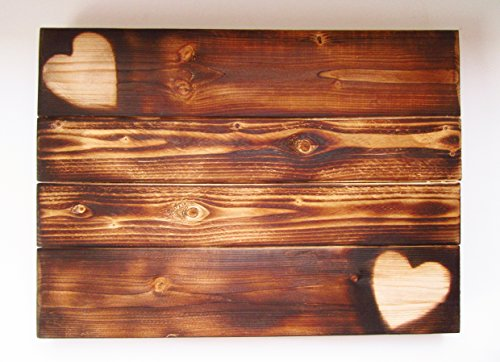 Rustic Burning Hearts Sign Pallet Wood Canvas Blank Wall Decor Wedding Childrens Room