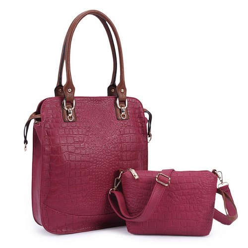 Tonwhar Women'S Vintage Tote Shopping Bag Hobo Crocodile Pattern Handbags Shoulder Bag Set (Main Bag + Sub Bag) (Claret) front-441732