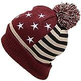 USA国旗(星条旗)柄ボン付きニット帽(ニット帽子 ワッチ) ワイン