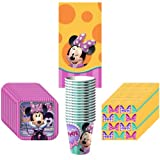Disney Minnie Mouse Dream Party Supplies Pack Including Plates, Cups, Napkins and Tablecover - 16 Guests