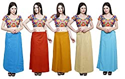 Pistaa combo of Women's Cotton Turquoise Blue, Mango, Mustard, Beige and Light Rama Color Best Solid Indian Readymade Daily wear Inskirt Saree petticoats