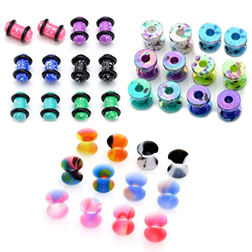 PiercingJ 36pcs Candy Colors Spots Acrylic Ear Stretching Plugs Kit and Double-flared Thin Silicone Saddle Tunnels Set (2 Gauge Ear Plugs compare prices)