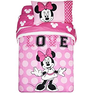 "Amazon Disney Minnie Mouse ""Love"" Twin Full Size"