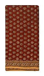 Gulmohar Women's Cotton Unstitched Dress Material (Brown)