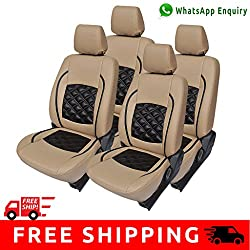 Autofact Brand (Economical Range) PU Leatherite Car Seat Covers for Maruti Car 800 Old Model in Beige and Black