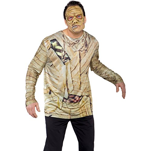 Underwraps Men's Mummy Mask, Brown, One Size - 1