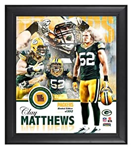 Green Bay Packers Clay Matthews Framed Collage with Football - Memories - Mounted Memories Certified
