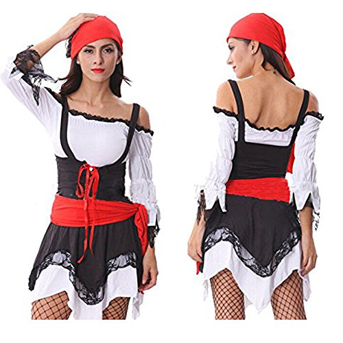 TAILUN Women's Halloween Party Dress Pirate Costume Indian Gypsy Romany Dress Cosplay