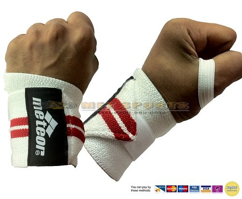 Wrist Support (pair) Elasticated - WHITE/RED