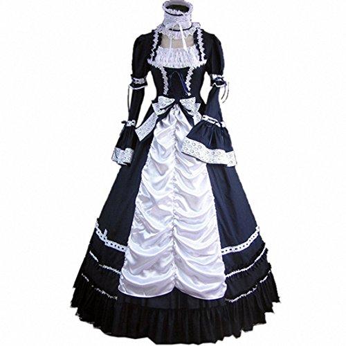 Partiss Womens Vintage Gothic Lolita Cosplay Prom Dress(medium, Black/white)