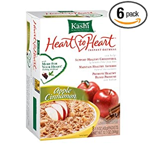 Kashi Heart To Heart Instant Oatmeal, Apple Cinnamon, 8-Count Boxes (Pack of 6)