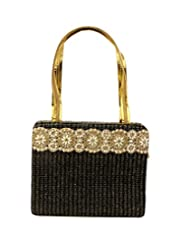 Bhamini Gold Touch Jute Handbag With Ornamental Lace (Black)