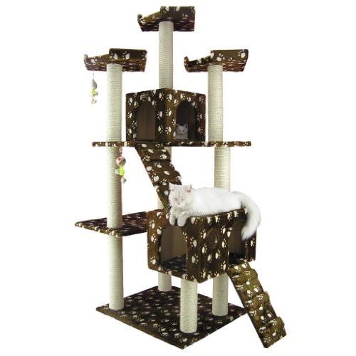 gro er kratzbaum ac7401w von armarkat braun mit riesigem katzenhaus und treppe 1 88 m hoch. Black Bedroom Furniture Sets. Home Design Ideas
