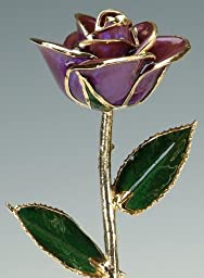 Deep Purple Laquered 24k Gold Dipped Long Stem Genuine Rose In Red Gift Box