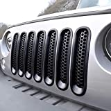 ICARS [Upgrade Clip in Version] Matte Black Mesh Grill Insert Jeep Grille Guard for 2007-2018 Jeep Wrangler JK JKU Unlimited Rubicon Sahara - 7PCS