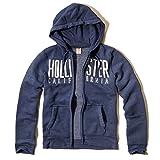 Hollister Co. EMERALD COVE HOODIE Mens Fleece Full Zipper Closure (Light Navy)