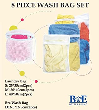B&E Home Essential Laundry Mesh Wash Bag Set (Small * 2, Medium * 2, Large * 2, Bra Wash Bag * 2) - Set of 8 at Amazon.com