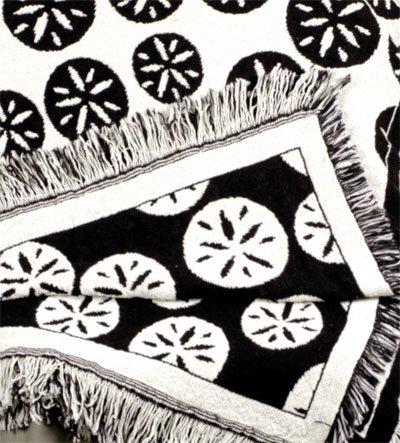 Black Sand Dollar Beach Print Eco2Cotton Afghan Throw Blanket 50