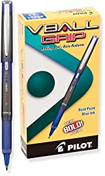 Pilot VBall Grip Liquid Ink Rolling Ball Pens, Bold Point, Blue Ink, Dozen Box (35607)