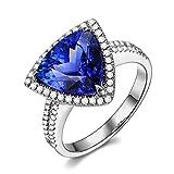 Voguegem【ウォッゲン】天然藍紫色タンザナイト/ダイヤモンドリング K18ホワイトゴールドエンゲージリング 婚約指輪